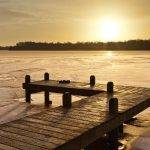 Dock on frozen lake