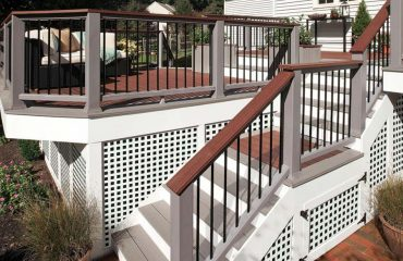 Brown deck with white accents, built with Trex decking material
